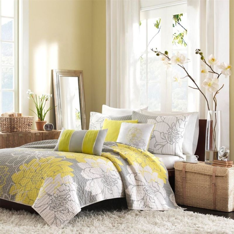 endearing-pretty-flowers-decorating-idea-mixed-with-grey-white-bedroom-interiors-plus-yellow-accent