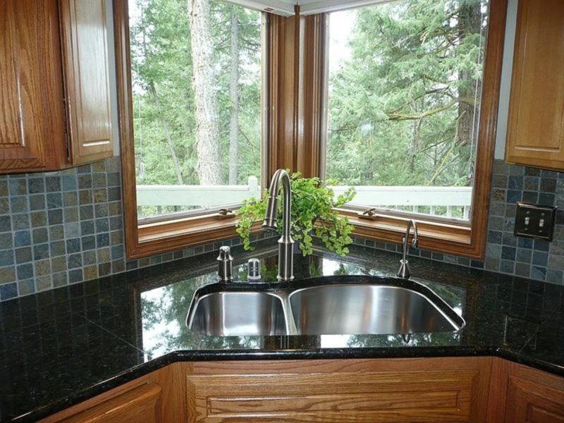 exotic-grey-backspalsh-tile-combined-with-black-granite-countertop-also-corner-kitchen-sink-design