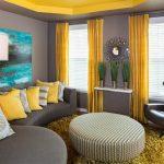 жёлтый в зале в стиле минимализм