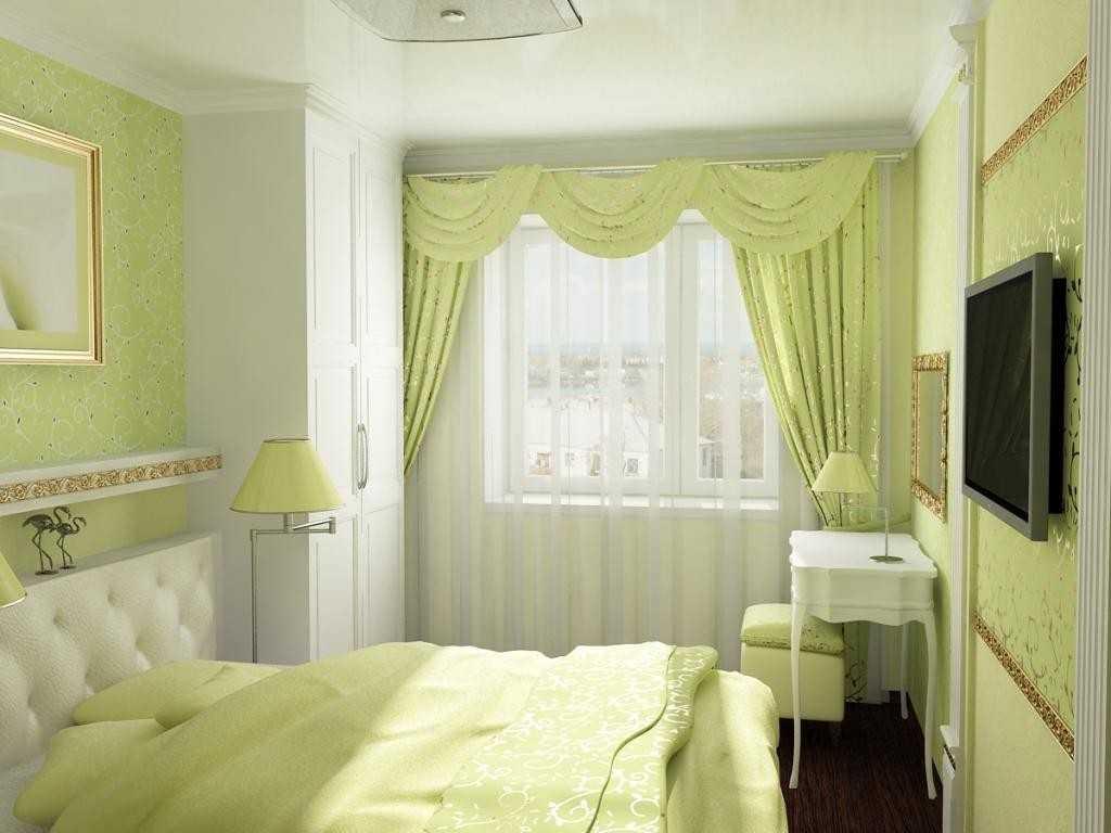 сочетание обоев двух цветов фото в спальне