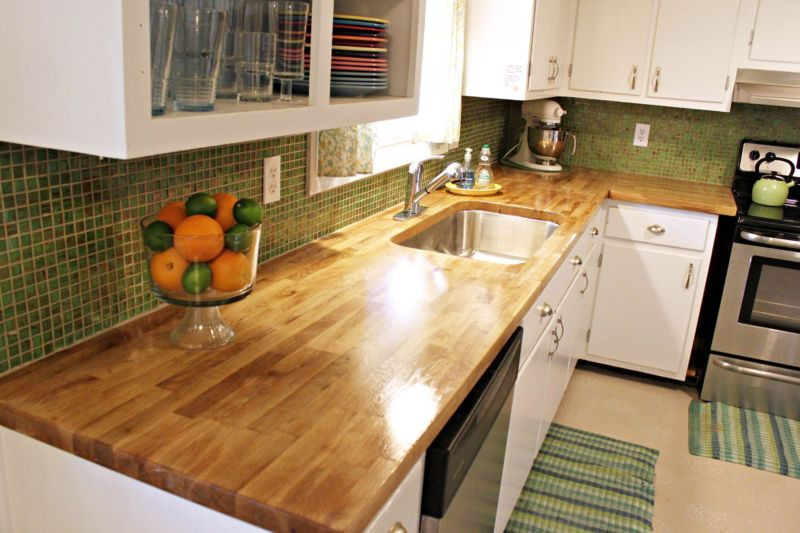 furniture-oak-wood-butcher-block-countertops-for-small-kitchen-spaces-with-white-wooden-cabinet-and-green-mosaic-kitchen-tiles-for-backsplash-ideas-butcher-block-countertop-oak-butcher