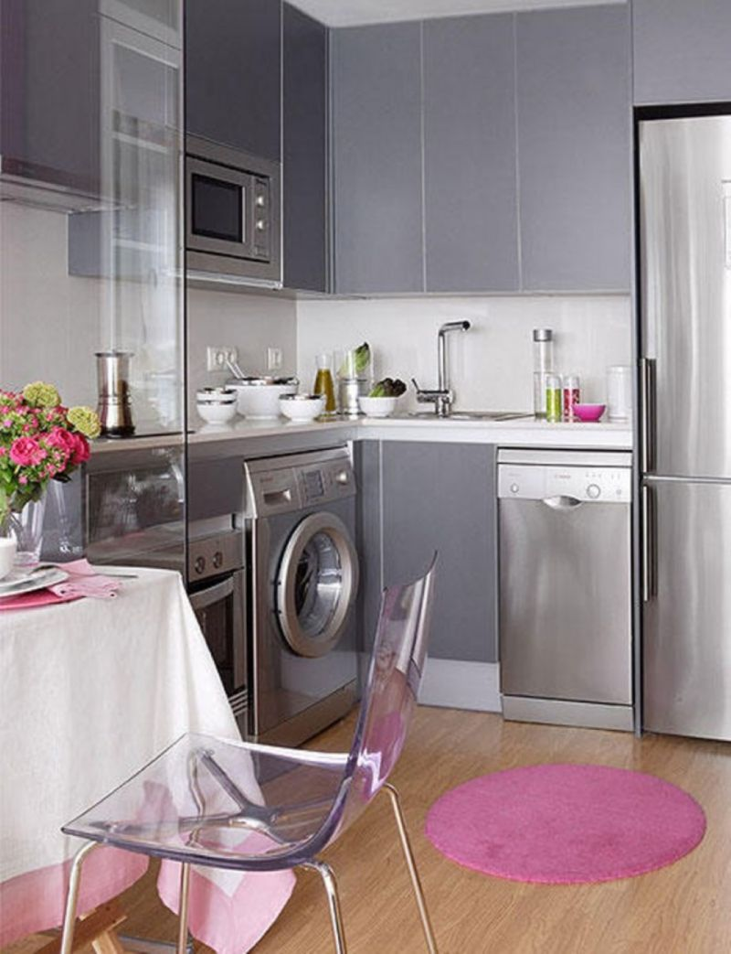 glass-chair-design-with-modern-grey-cabinets-and-stainless-steel-countertop-also-cute-round-kitchen-rug