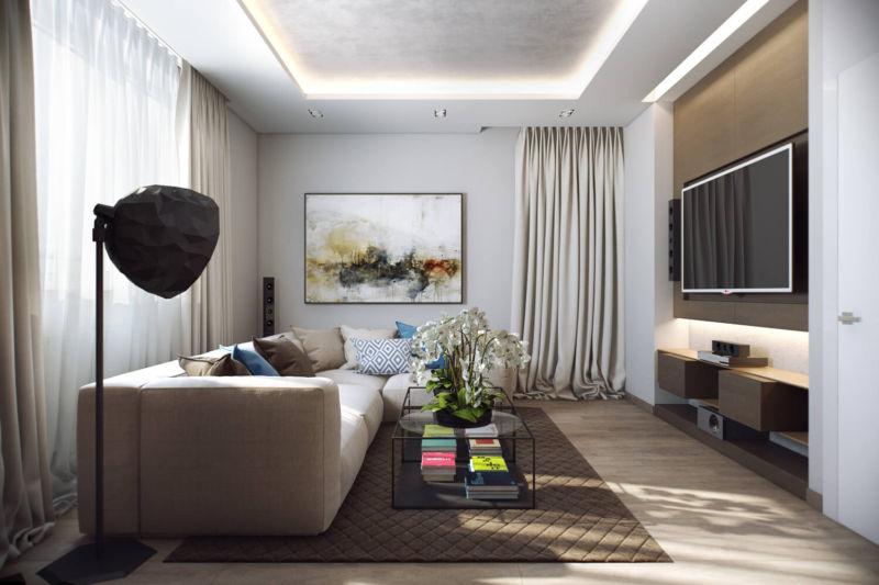 gostinaya-v-stile-minimalizm-s-bolshim-televizorom-i-kartinoy