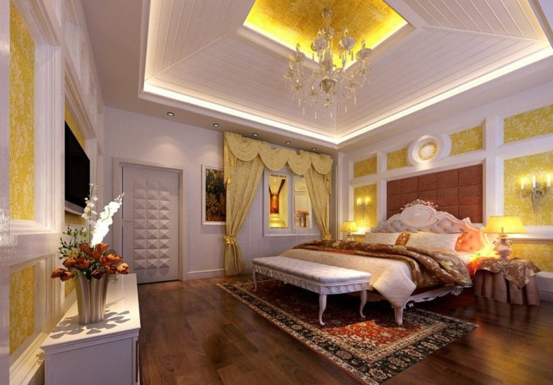 luxurious-master-bedroom-designs-with-wooden-tray-ceiling