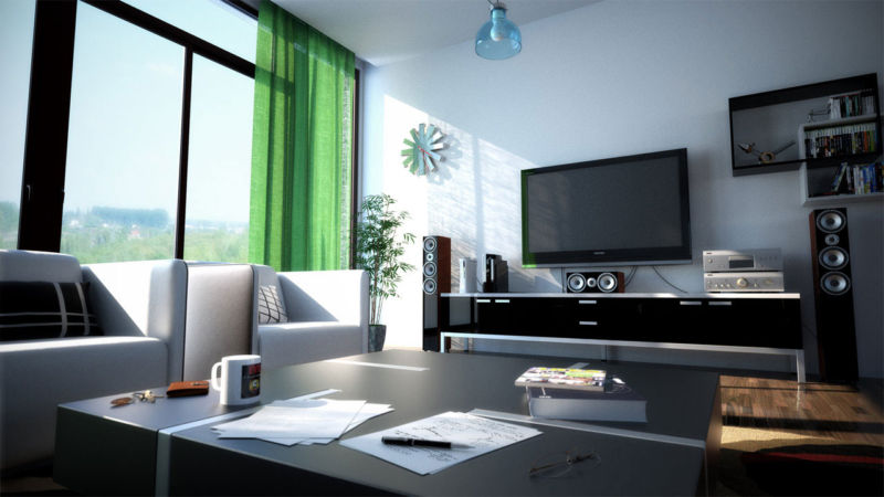 mesmerizing-interior-modern-green-theme-of-curtains-at-modern-living-room