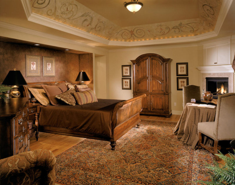 midcentury-royal-bedroom-wooden-bed-frame-furniture-persian-rug-brown-feature-wall