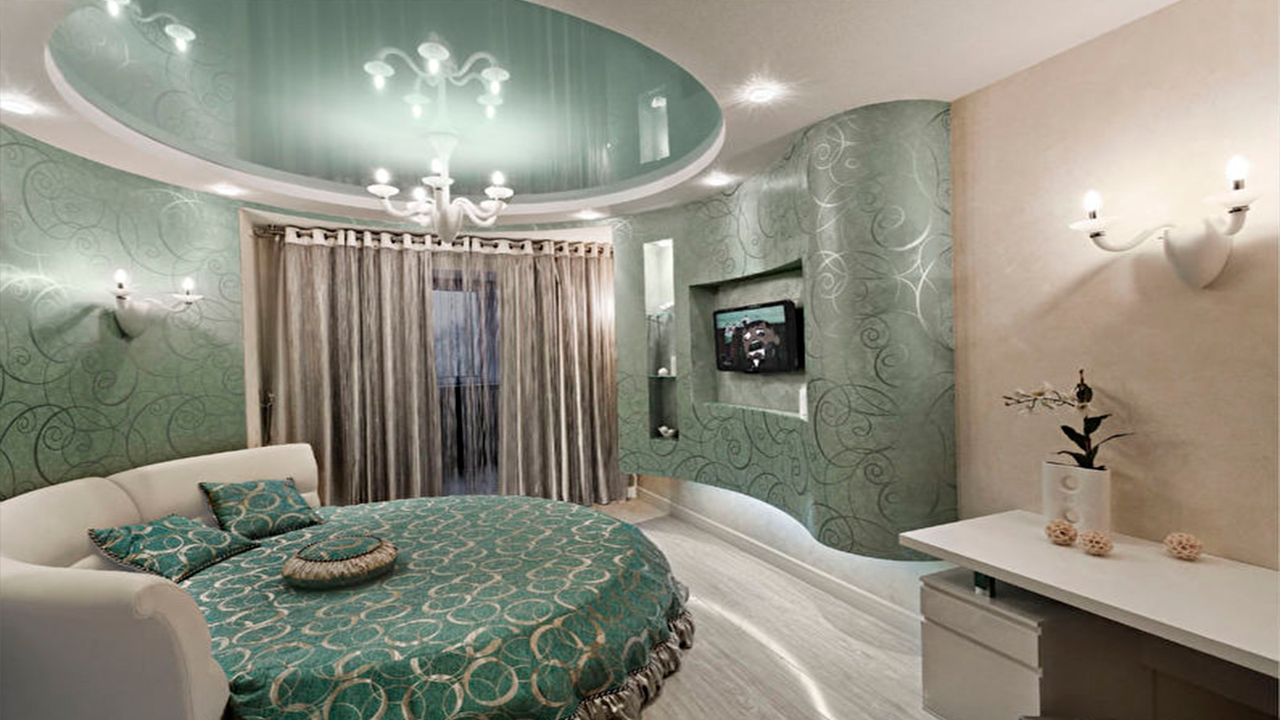 натяжные потолки в спальне фото и картинки