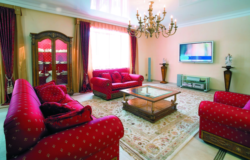 modern-style-furniture-living-room-design-ideas-with-red-fabric-pattern-sofa-sets-by-ruched-arm-and-branched-chandelier-above-glass-top-coffee-table-as-well-as-living-room-furn-and-traditional-style