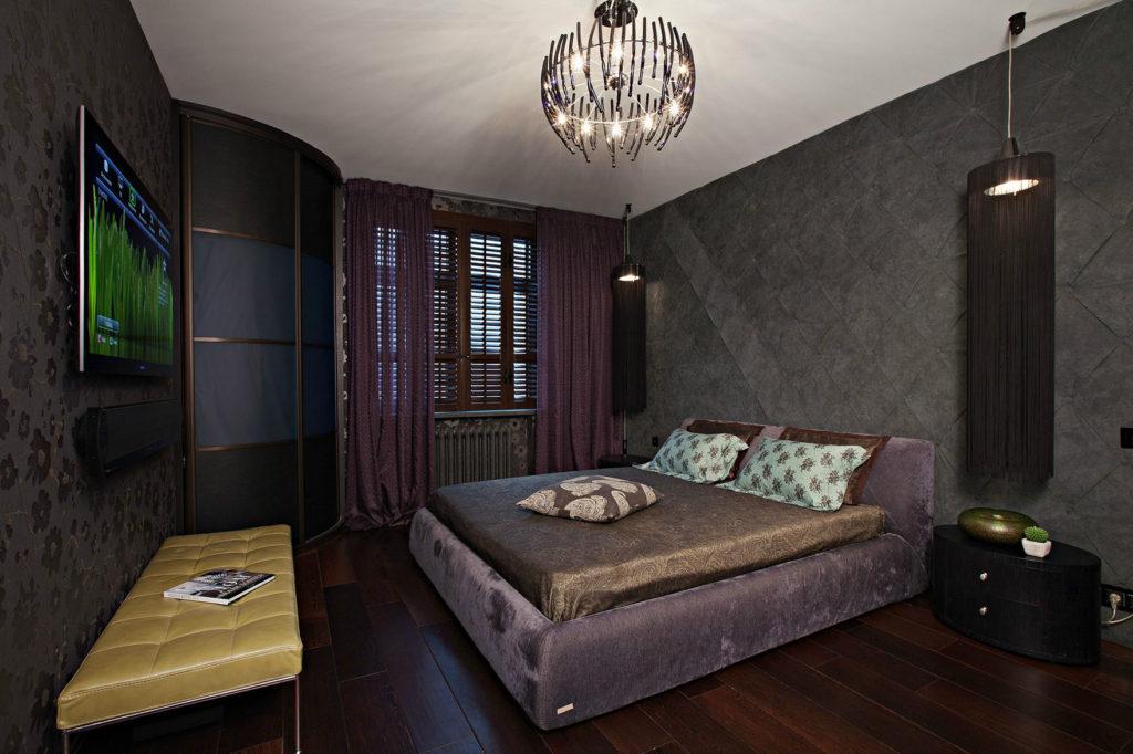 спальня в темных тонах фото