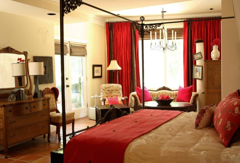 traditional-master-bedroom-furniture-with-red-curtain-antique-mirror-and-table-lamp-unique-tiles-flooring-best-light-yellow-wall-painting-color-lounge-chairs-classic-elegant-design-ideas
