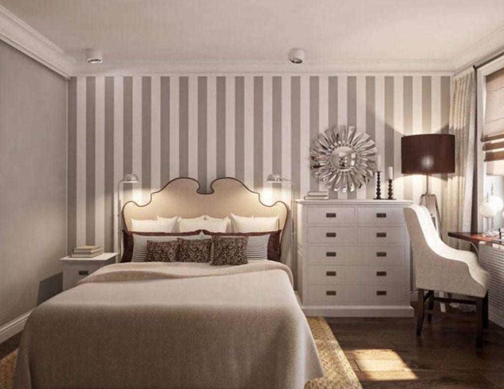 как комбинировать обои между собой фото спальня