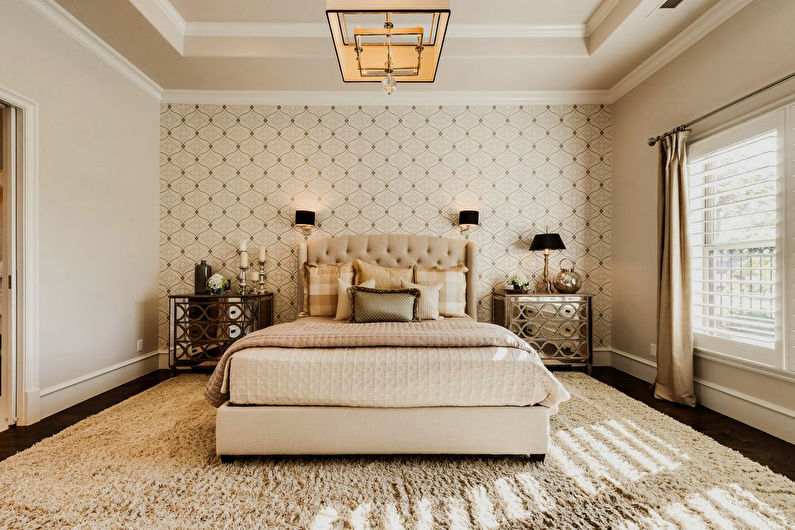 комбинирование обоев в спальне фото идеи